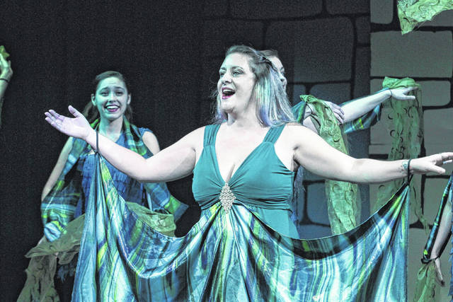 "Debbie Briggs stars as ""Lady of The Lake"" in the Encore Theatre production of ""Spamalot."""