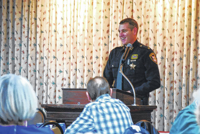 In this 2017 file photo, Allen County Sheriff Matt Treglia gave an address at the Allen County Republican Party luncheon. Treglia has filed paperwork to be formally elected to his current position.