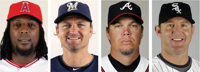 Those elected to baseball's Hall of Fame on Wednesday were, from left, Vladimir Guerrero, Trevor Hoffman, Chipper Jones and Jim Thome.