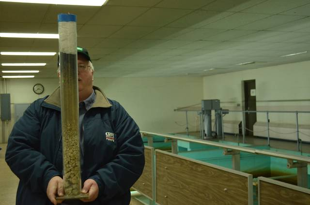 Russel Bales, Ottawa waste water treatment director and back up director of Ottawa water treatment plant, holds a sand filter in the water treatment plant filter room. The water flows through multiple filters in this 70s aqua color room. Contaminants are filtered of the water as it travels through the rag, sediment and stones.