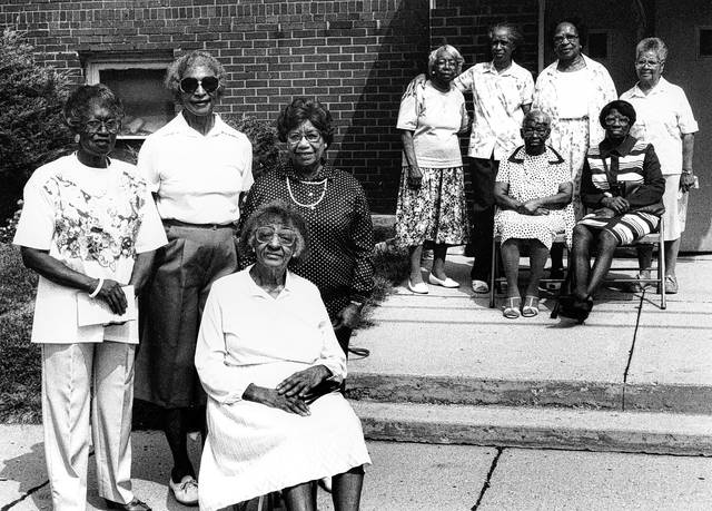 Fourth Street Missionary Baptist's Progressive Club celebrated its 64th anniversary in 1991. The women at left, the club officers, had their names published in the newspaper: Celestine Griffith, vice president; Ethel Warren, president; Louvian Dent, historian; Trevie Sims, secretary. At that time, there were 38 members of the club. Their function was to decorate the church and take care of other items as needed by the church.