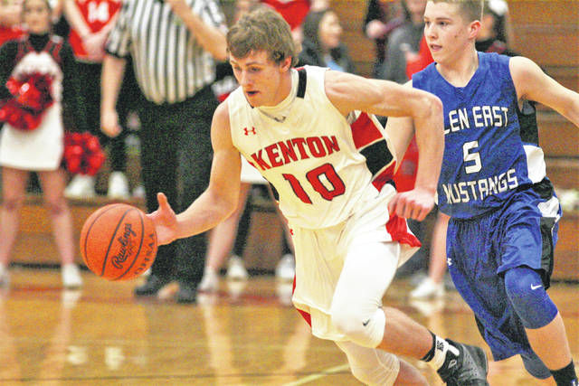 Kenton's Jaron Sharp races up court after making a steal during Saturday night's game against Allen East in Kenton.