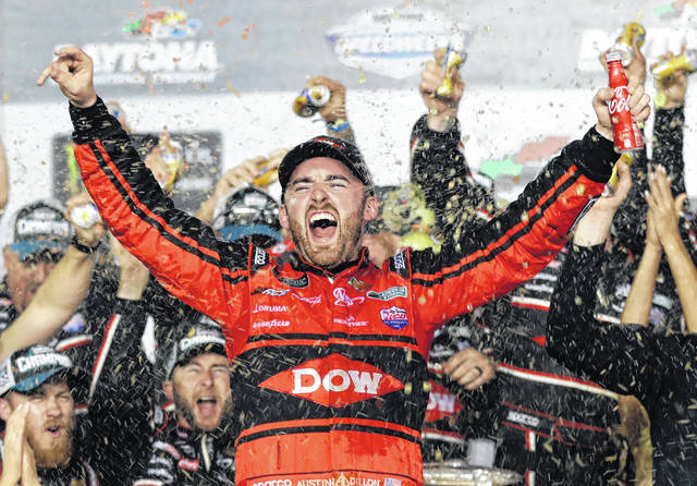 Austin Dillon celebrates in Victory Lane after winning the NASCAR Daytona 500 Cup series auto race at Daytona International Speedway on Sunday. It was the first Daytona 500 win for Dillon, driving the No. 3 car, long associated with the late Dale Earnhardt.