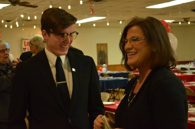 "Janet Breneman, Democratic candidate for the 81st Ohio House District, and Aden Baker, Democratic candidate for the 82nd Ohio House District, chat while waiting for the ""Let's Get Fired Up For Ohio Democrats"" event to begin Tuesday at the Kalida Knights of Columbus Hall."