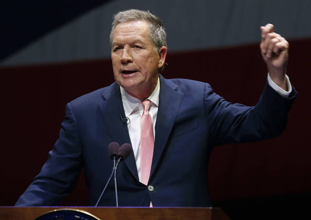 Ohio Gov. John Kasich speaks during the Ohio State of the State address in the Fritsche Theater at Otterbein University in Westerville, Ohio, Tuesday, March 6, 2018. (AP Photo/Paul Vernon)