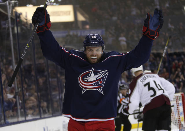 Columbus Blue Jackets' Thomas Vanek, of Austria, celebrates his goal against the Colorado Avalanche during the second period of an NHL hockey game Thursday, March 8, 2018, in Columbus, Ohio. (AP Photo/Jay LaPrete)
