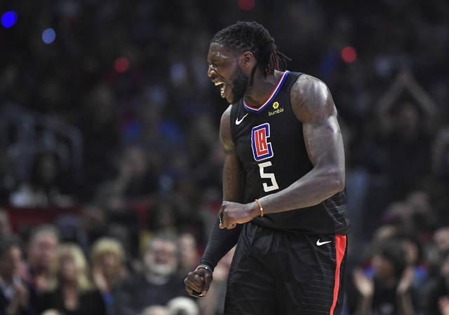 Los Angeles Clippers forward Montrezl Harrell celebrates after scoring and drawing a foul during the first half of the team's NBA basketball game against the Cleveland Cavaliers, Friday, March 9, 2018, in Los Angeles. (AP Photo/Mark J. Terrill)