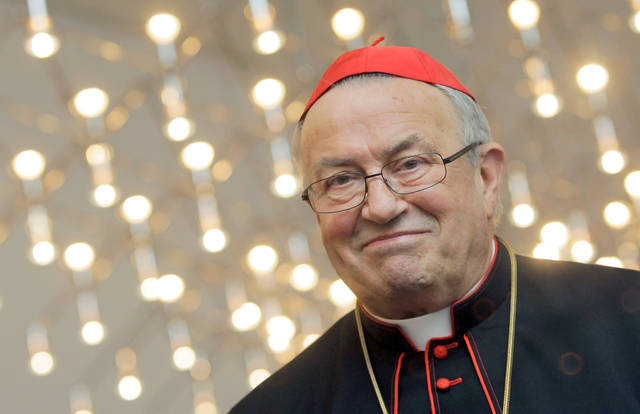 FILE---- This picture taken August 14, 2009 shows German Bishop Cardinal Karl Lehmann who died 81- years-old in Mainz, Germany, Sunday, March 11, 2018. (Fredrik von Erichsen/dpa via AP)