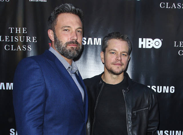 """Ben Affleck, left, and Matt Damon attend the """"Project Greenlight"""" premiere of """"The Leisure Class"""" in Los Angeles in 2015. Damon, Affleck and Paul Feig are jumping on the inclusion rider bandwagon following Frances McDormand's Oscar acceptance speech."""