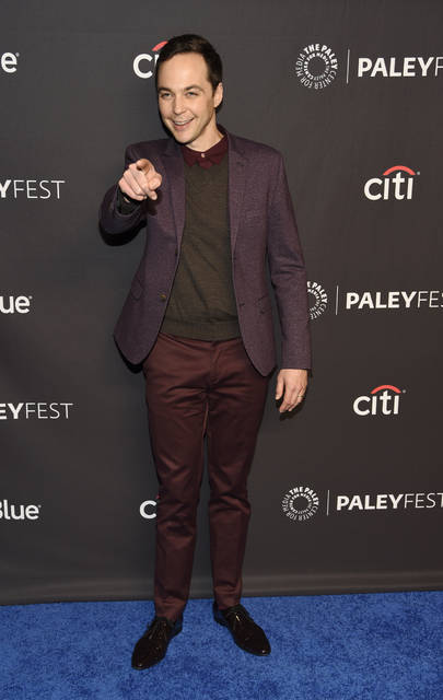 "Jim Parsons, a cast member in the television series ""The Big Bang Theory,"" gestures to photographers during the 35th annual PaleyFest at the Dolby Theatre on Wednesday in Los Angeles."