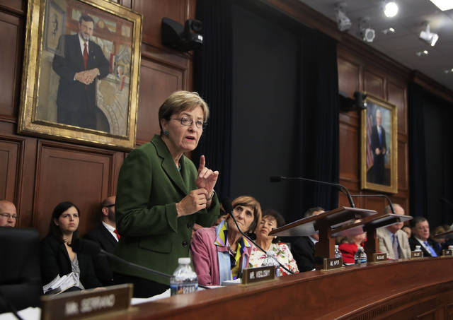 FILE - In this Wednesday, July 19, 2017 file photo, Rep. Marcy Kaptur, D-Ohio, member of the House Appropriations Committee, speaks during a markup hearing on FY2018 State and Foreign Operations Appropriations Bill, FY2018 Labor, Health and Human Services, and Education Appropriations Bill; and Interim Suballocation of Budget Allocations for FY2018, on Capitol Hill in Washington. Kaptur is poised to become the longest-serving female member ever in the U.S. House. The 71-year-old Democrat from Toledo has served in the House since 1983. (AP Photo/Manuel Balce Ceneta, File)