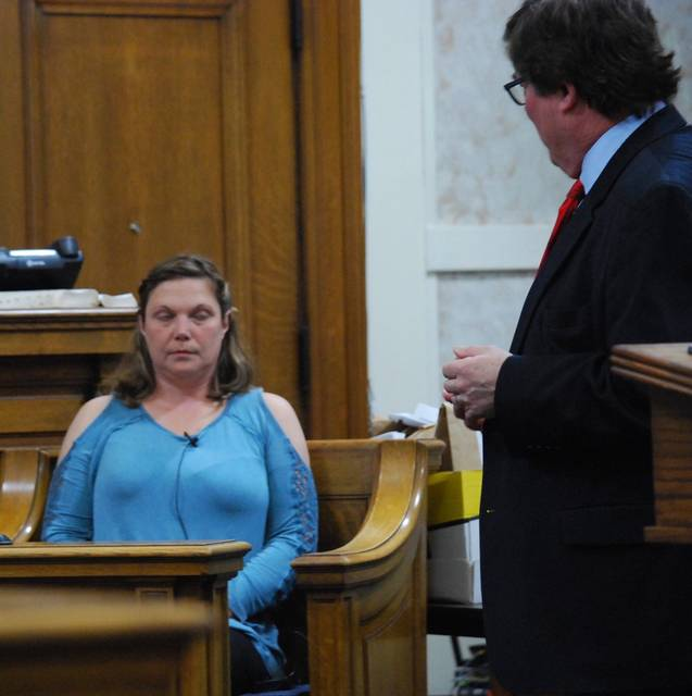 J Swygart | The Lima News  Danielle Sheldon took the witness stand Wednesday in the Hardin County trial of her former husband, Tony Sheldon, who is charged with attempting to get another person to burn down the home of his ex-wife.