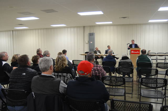 Allen County Commissioner Jay Begg addresses county residents about a proposed sales tax increase Wednesday at the Allen County Fairgrounds.