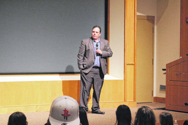Democrat James Neu Jr. is running for Congress in Ohio's 5th District. He appeared at Ohio Northern University Friday night to talk to local Democrats.