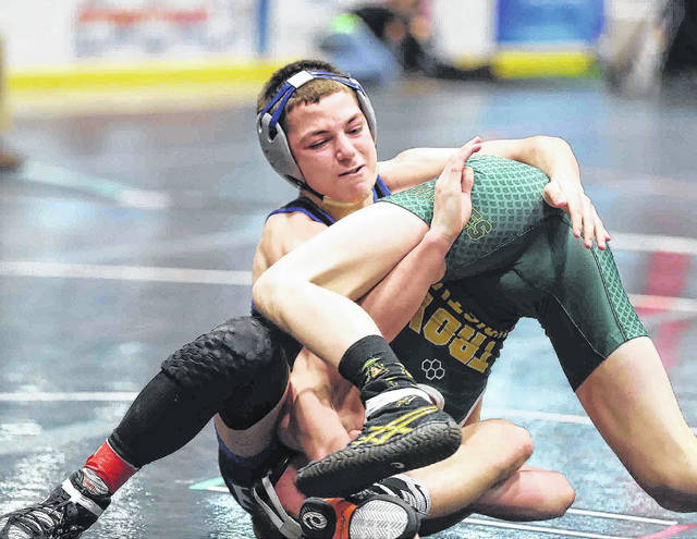 Allen East's Chase Caprella compete against Troy Christian during Saturday's Division III district at Hobart Arena in Troy.