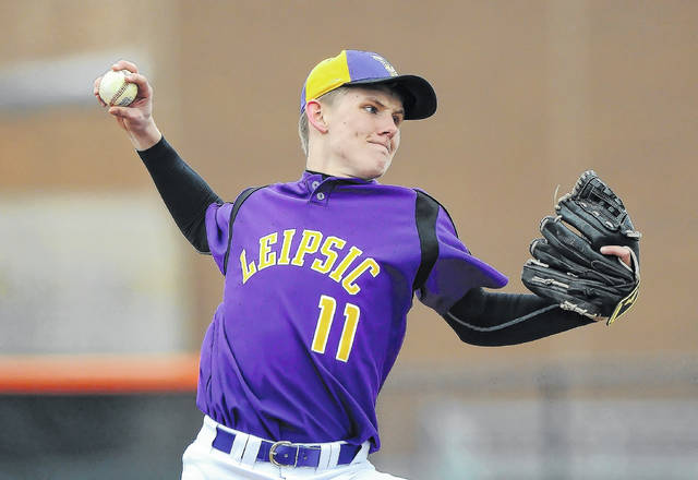 Leipsic's Cole Rieman pitches against Elida during Saturday's game at Ed Sandy Field.