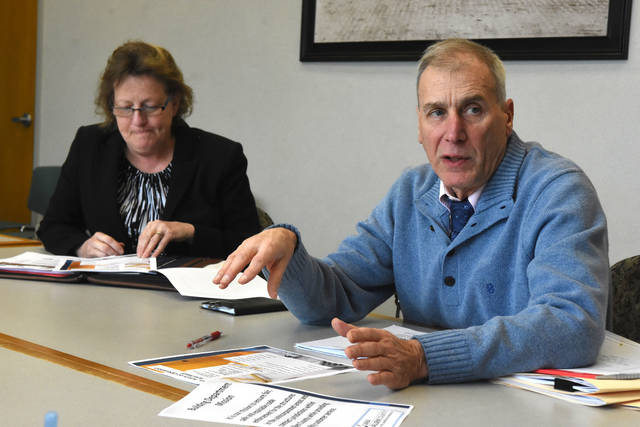 If Allen County were to cancel its contract with the City of Lima, Lima would lose roughly $500,000 worth of annual revenue from permit fees from commercial development outside of city limits, says Lima Public Works Director Howard Elstro and Amy Harpster. Craig J. Orosz | The Lima News