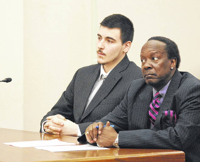 Gavin Lauck, 20, of Lima, will be sentenced April 16 to a prison term of 18 years to life after he pleaded guilty Tuesday to murder in the 2017 shooting death of Damere Oliphant. He is pictured with his attorney, Jerry Pitts. Damere Oliphant