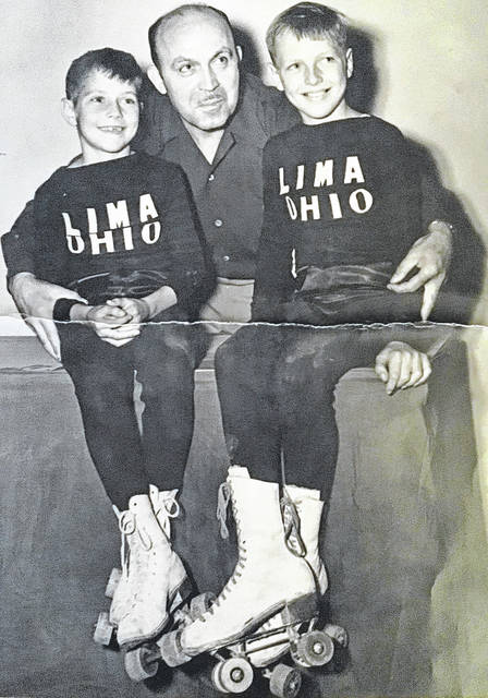 Chuck Michael, left, and Don Michael, right, pose with their coach. The pair of speed roller skaters representing their hometown of Lima well, dominating on the local, regional and national levels.