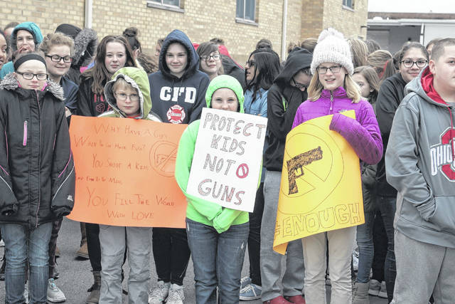 These Bluffton Middle School students participated in the national walk out, a month after the Parkland, Florida shootings that killed 17 students and staff.