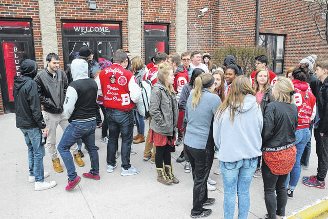 Bluffton High School students participate in a nationwide walkout that began at 10 a.m. Wednesday and lasted for 17 minutes.