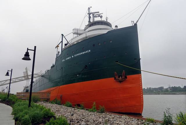 FILE - The 617-foot-long Col. James M. Schoonmaker once hauled iron ore, coal and rye on the Great Lakes. It was launched in 1911 and was mothballed in 1980. In this 2014 file photo, it is a museum ship at the National Museum of the Great Lakes in Toledo, Ohio.
