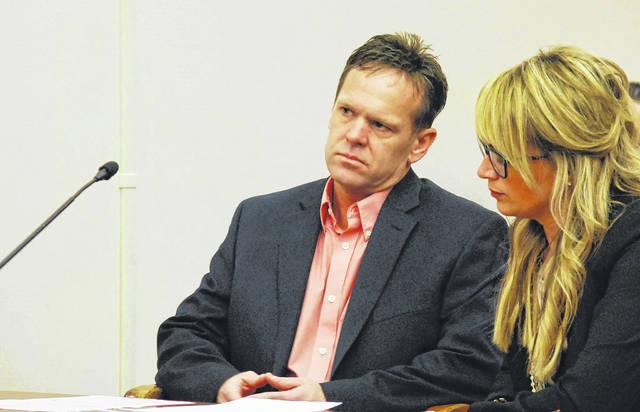 J Swygarat | The Lima News  Garry Tabler Jr., shown with his attorney, Shannon McAlister, pleaded guilty Monday in Allen County Common Pleas Court to a charge of the illegal conveyance or possession of a deadly weapon or dangerous ordnance in a school safety zone. Tabler, whose handgun accidentally discharged at Bath High School last November during a meeting of basketball referees, agreed to enter a 12-month diversion program that, if completed, would result in the dismissal of all charges.