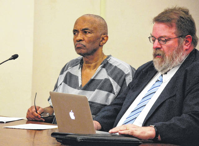 Anthony Whaley, 62, of Lima, was sentenced Monday to four years in prison for setting fire to a Union Street residence in August of 2017. He is pictured with his attorney, Steve Chamberlain.