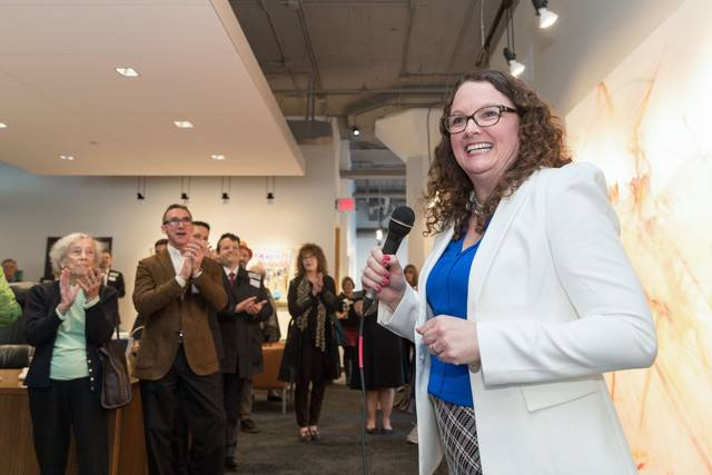 In a Wednesday, March 14, 2018 photo, Kara Eastman speaks at a fundraiser for her campaign at the Omaha Design Center, in Omaha, Neb. Thirteen women are on the list released Thursday of primary candidates for seats in the U.S. House of Representatives in Virginia, pushing the number of women on ballots for U.S. House seats this year to 309. That tops the 2012 record of 298 female House candidates. (Matt Dixon/Omaha World-Herald via AP)