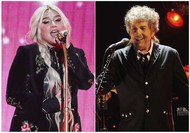 "This combination photo shows singers Kesha, left, and Bob Dylan, who have reimagined songs to honor the LGBTQ community for the six-song album, ""Universal Love,"" released digitally Thursday."