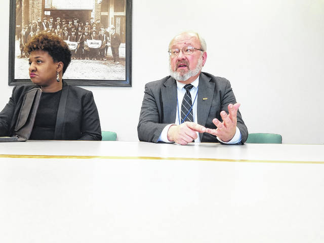 "Lima Mayor David Berger, right, and Chief of Staff Sharetta Smith discussed what Berger described as ""breakdowns in communication"" between the City of Lima and the Allen Economic Development Group Wednesday."