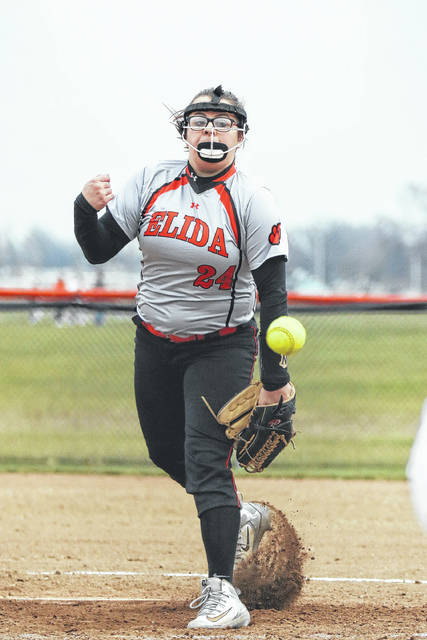 Kori Baker pitches for Elida during Tuesday's game against Bath at Dorothy Edwards Field.