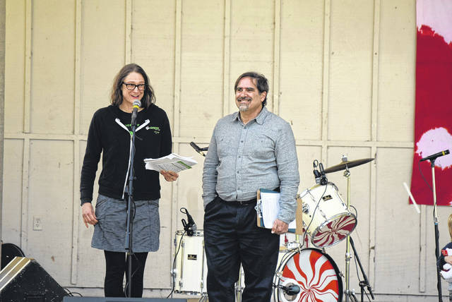 Gubernatorial candidate Constance Gadell-Newton and her Green Party running mate, Brett Joseph, speak at Earth Day Lima about their platform.