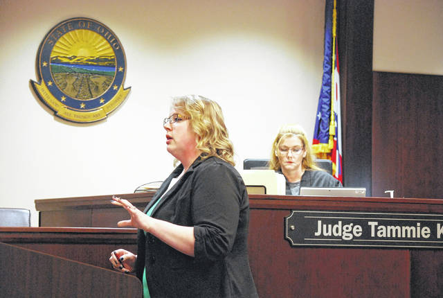 Nicole Smith, assistant prosecutor for the city of Lima, presented opening arguments Wednesday in the trial of Dr. James Gideon of Pandora.