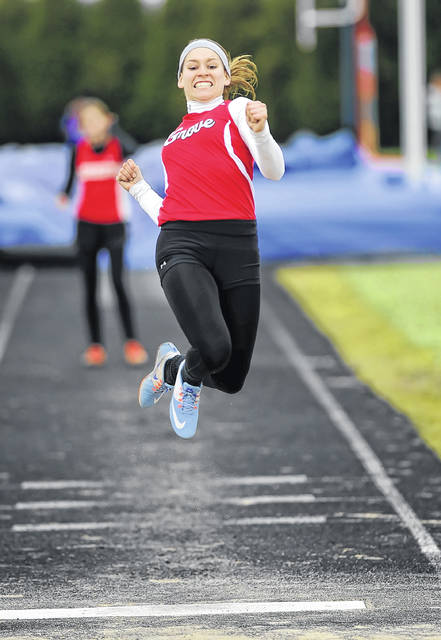 Columbus Grove's Bailey Dunifon competes in the long jump during Saturday's Liberty-Benton Pat Wagner Memorial Invitational.