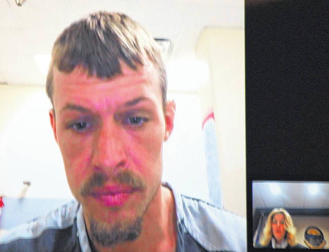 J Swygart | The Lima News  Gabriel Salyers, 31, of Lima, appeared in Lima Municipal Court via video conferencing Wednesday. Salyers is charged with murder in the death of 18-month-old Jaxxon Sullivan. His bond was set at $2.5 million.