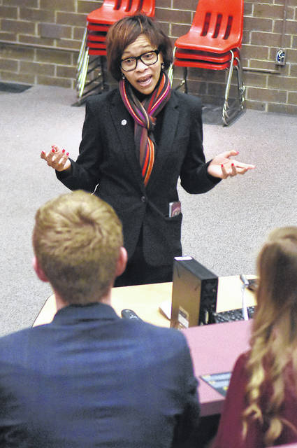 Tara Samples, candidate for Lieutenant Governor and running mate of Democratic gubernatorial candidate Dennis Kucinich, addresses Youth in Government organization students at Wapakoneta High School on Wednesday.