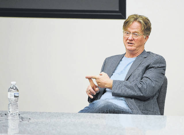 Lima native Tom Flynn, screenwriter and LCC Hall of Fame member, speaks during a a master class at Lima Central Catholic on Thursday.