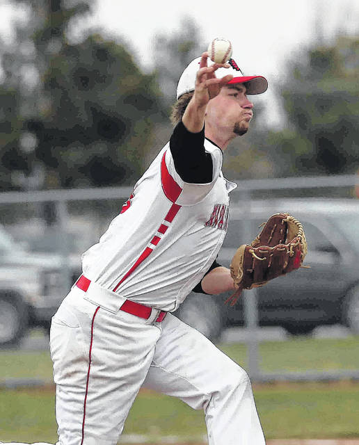 Wapakoneta's Joel Roettiger delivers a pitch during Thursday's home game against Perry.