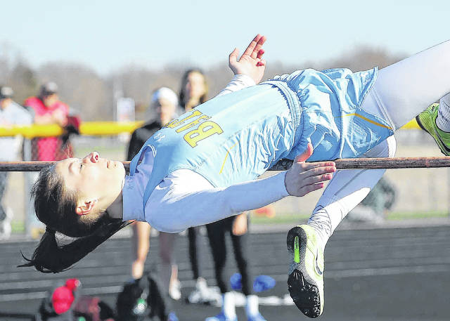 Bath's Caylee Rieman competes in the high jump during Friday night's Tiger Invitational at Waynesfield-Goshen High School. See more meet photos on 3C and LimaScores.com.