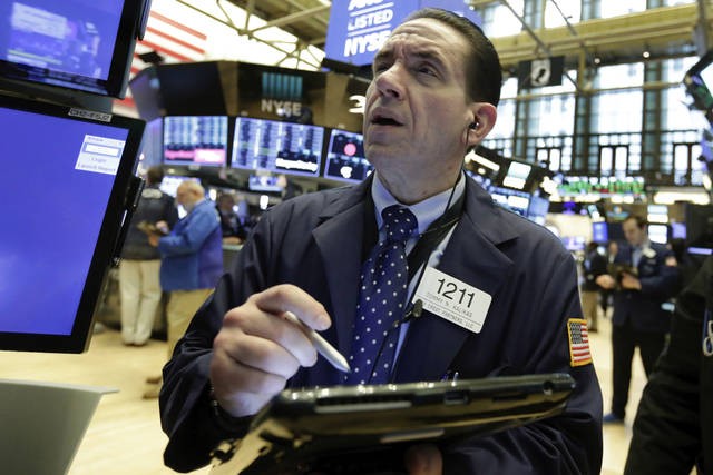 Trader Tommy Kalikas works on the floor of the New York Stock Exchange, Monday, May 7, 2018. U.S. stocks moved broadly higher in early trading Monday, adding to solid gains at the end of last week. (AP Photo/Richard Drew)