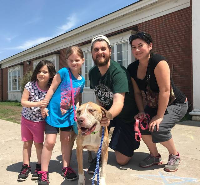 """This May 5, 2018 photo provided by Laura Simmons-Wark, shows the Wieferich family holding their dog """"Bambi"""" at the Lucas County Canine Care & Control in Toledo, Ohio.  The dog ran away from the Lansing, Mich., family four years ago was reunited with them after being found more than 100 miles away in Ohio and identified through a microchip. Bradley Wieferich said he was surprised by the call from a microchip company telling him Bambi had been found. (Laura Simmons-Wark via AP)"""