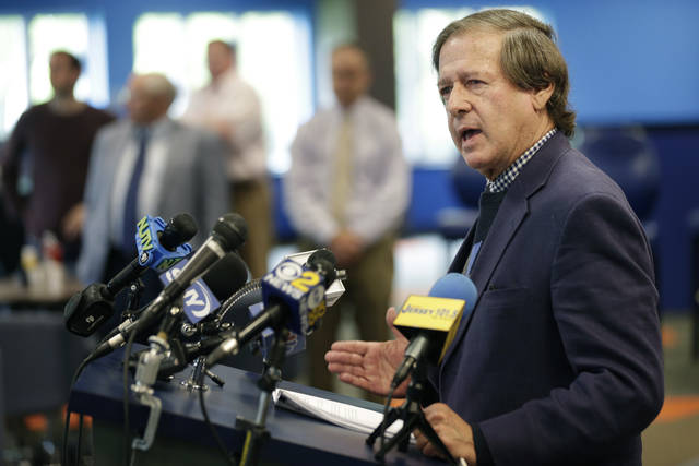 Dennis Drazin, CEO of Darby Development, operators of Monmouth Park, speaks to reporters at Monmouth Park Racetrack in Oceanport, N.J., Monday, May 14, 2018. The Supreme Court on Monday gave its go-ahead for states to allow gambling on sports across the nation, striking down a federal law that barred betting on football, basketball, baseball and other sports in most states.  Monmouth Park has already set up a sports book operation and has previously estimated it could take bets within two weeks of a favorable Supreme Court ruling.  (AP Photo/Seth Wenig)