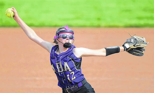 Leona Dalton pitches for Ada against Tinora during a Wednesday Division IV regional semifinal in Findlay.