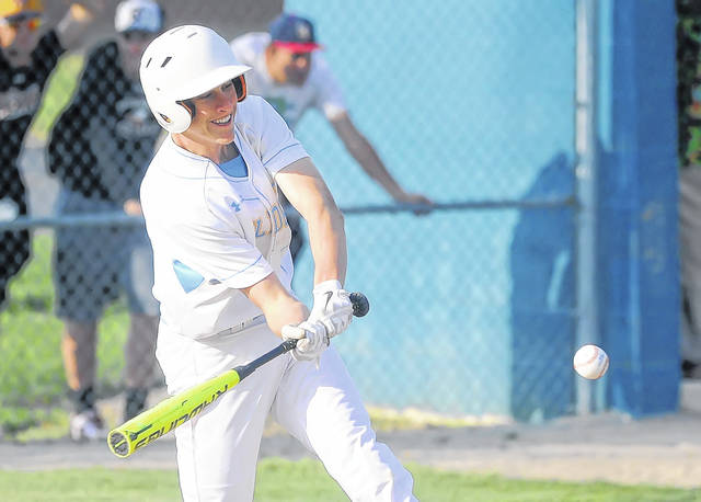 Bath's Dylan Mohr at-bat against Maumee during Wednesday's Division II sectional tournament at Bath High School.