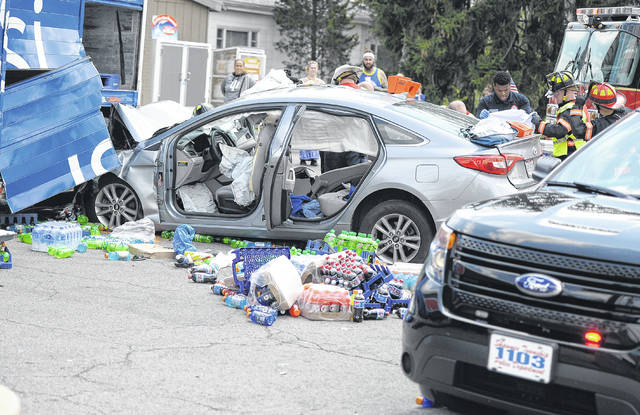 A Hyundai Sonata was traveling eastbound on Spencerville Road and then swirled through the Intersections and hit a stationary Pepsi truck in the parking lot of the Pony Keg on Wednesday afternoon. One person was extracted from the vehicle. The crash is under investigation.
