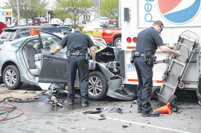 Shawnee Police and Fire Department were on the scene of a crash. A Hyundai Sonata was traveling eastbound on Spencerville Road and then swirled through the Intersections and hit a stationary Pepsi truck in the parking lot of the Pony Keg on Wednesday afternoon. One person was extracted from the vehicle. The crash is under investigation.