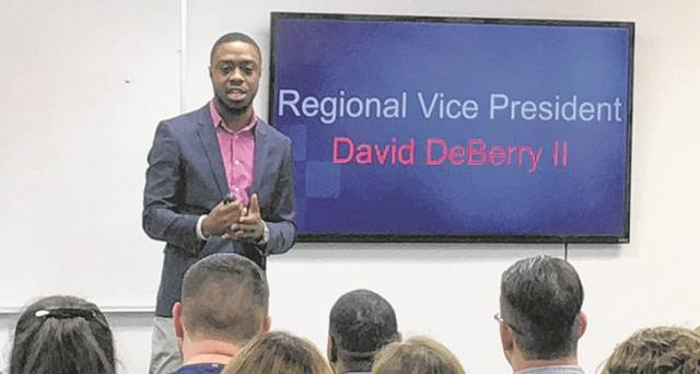 David Deberry II, Primerica Regional Vice President, presents at the weekly Monday money and business event at Primerica Lima location on 1700 Findlay Rd. Ste B.