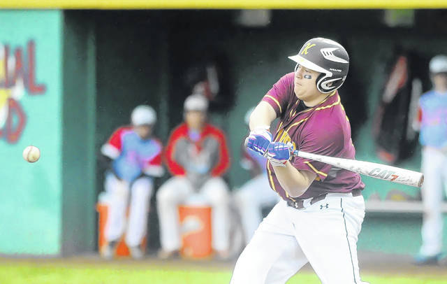 Ethan Schmenk bats for Kalida during Friday night's Division IV district final against Lima Central Catholic at Memorial Park in Ottawa.