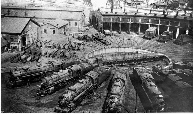 """A view of the Nickel Plate round house and maintenance shops in south Lima. John A. Rehor, author of """"The Nickel Plate Story,"""" the Lima shops and several other small maintenance facilities in Ohio kept the Nickel Plate running during the hectic years of World War II."""